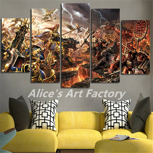 5Piece Canvas Prints Sigmar Warhammer Wall Painting Modular Art Picture For Living Room Print Anime Posters Wall Art Home Decor
