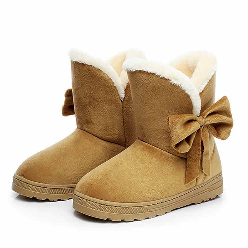 Kadın kar botları 2019 yeni moda kürk sıcak bayan yay yuvarlak ayak kadın yarım çizmeler bayanlar ayakkabı kış çizmeler kadın ayakkabıları