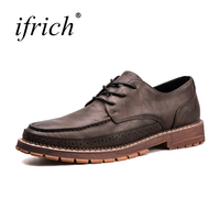Ifrich Hot Sale Formal Dresses Wine Brown Formal Shoes Men Summer Autumn Comfortable Lace Up Mens