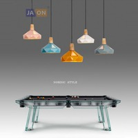 led e27 Postmodern Iron Wood Colorized Chandelier Lighting Lamparas De Techo Suspension Luminaire Lampen For Dinning Room