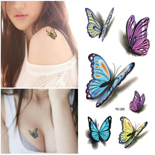 1Pcs Butterfly Pattern Temporary Tattoo Women Colorful Flash Tattoos Flash For Body Art