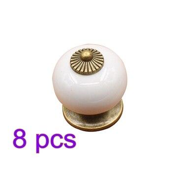 8 PCS ชุดเซรามิคฟักทองรูปเฟอร์นิเจอร์จับ Creative Doorknob สำหรับตู้ลิ้นชักตู้เสื้อผ้าประตู-สีขาว