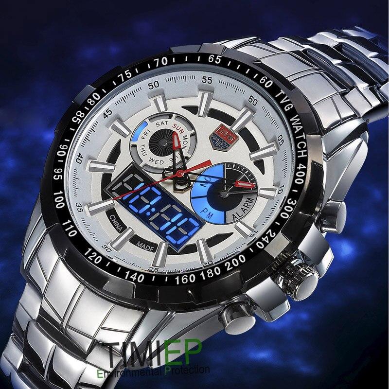 TVG متعددة الوظائف الصلب الكامل الكوارتز الرياضة العسكرية ووتش الجيش مضيئة مؤشر LED للماء ساعة اليد للرجال C781