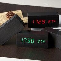 새로운 나무 LED 알람 시계 디스플레이 날짜 + 시간 + 섭씨/화씨 온도 사운드 제어 기능 테이블 데스크탑 시계