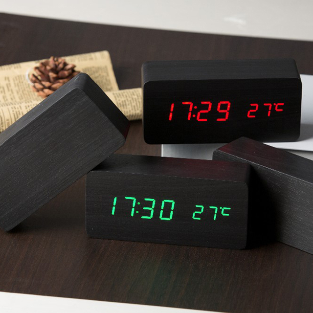 Wooden LED Alarm Clock Display Date+Time+Celsius/Fahrenheit Temperature Sound Control Function Table Desktop Clocks
