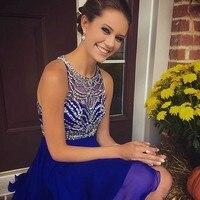 Тёмно синие Бальные платья из шифона, отделанное бисером блестящее с короткими рукавами для девочек, для выпускного вечера вечерние платья