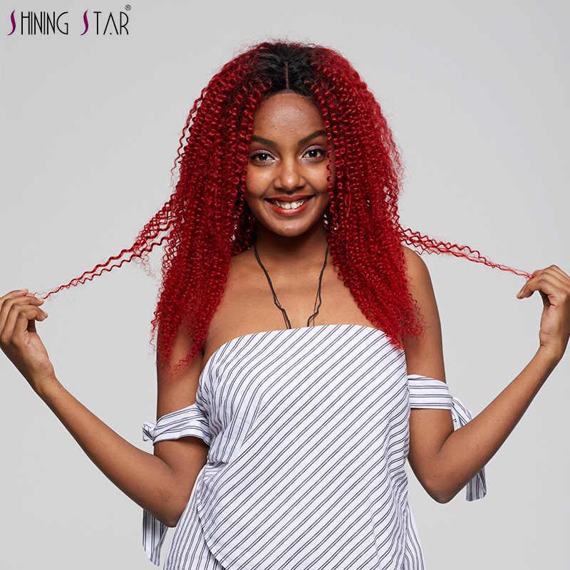 Mongolischen Afro Verworrenes Lockiges Haar Weben Menschliches Haar Rot Bundles Mit Verschluss 4 Ombre Bundles Mit Verschluss 2 Ton Nonremy dark Wurzeln