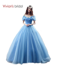 Vivians Bridal New Movie Deluxe Adult Cinderella Wedding Dresses Blue Ball Gown Dress 26240