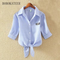 BOBOKATEER Summer Casual Chiffon Blouse Loose White Striped Shirt Short Sleeve V Neck Blue Tops Blusas