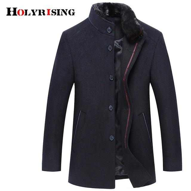 Holyrising Men Wool Coats Casaco Masculino Inverno Single Button Mens Overcoat Windproof Men Cloths Slim Coats For Men 18519-5 2