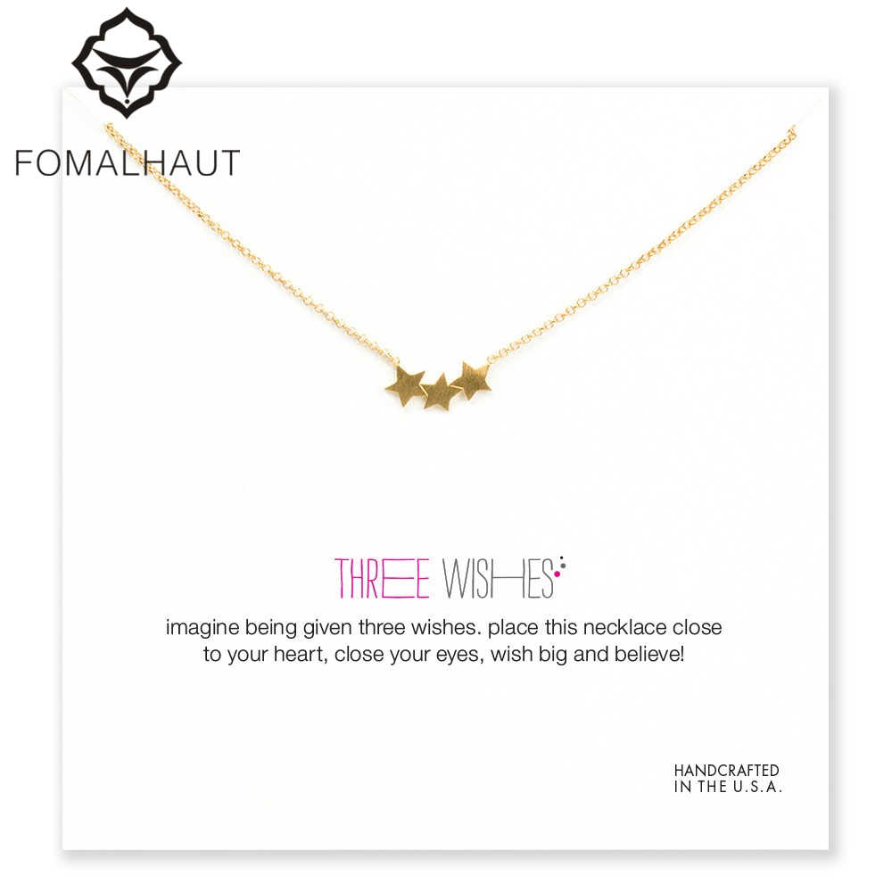 three wishes triple star Pendant necklace Clavicle Chains fashion Statement Necklace Women FOMALHAUT Jewelry