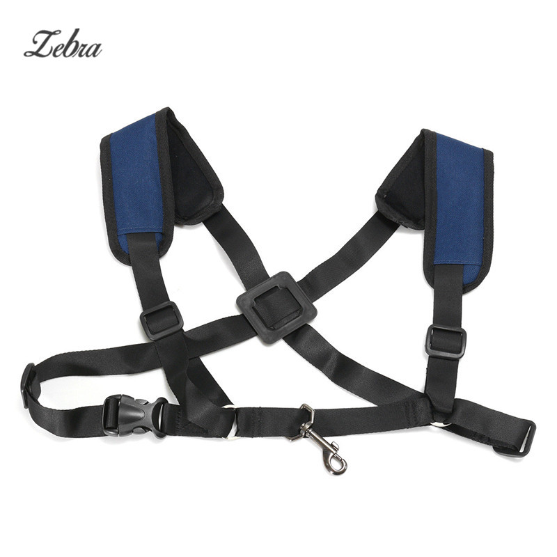 Zebra Portable Black Nylon Adjustable Tenor Baritone Sax Alto Saxophone Harness Shoulder Strap For Saxophone Alto Tenor Baritone