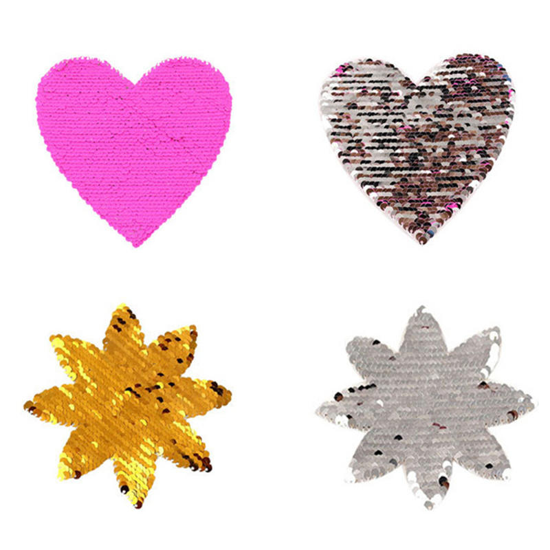 DoreenBeads 2018 Sequined Reversible Change Color Patch Heart Sew On T-shirt Hoodie <font><b>Jeans</b></font> Bag DIY Deco Golden Silver <font><b>Fuchsia</b></font> 1PC