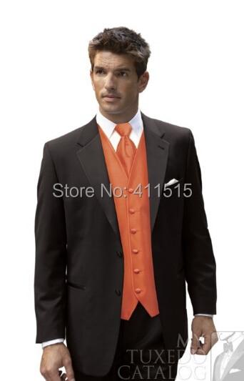 black suit orange vest groom tuxedosnotch lapel groomsmen