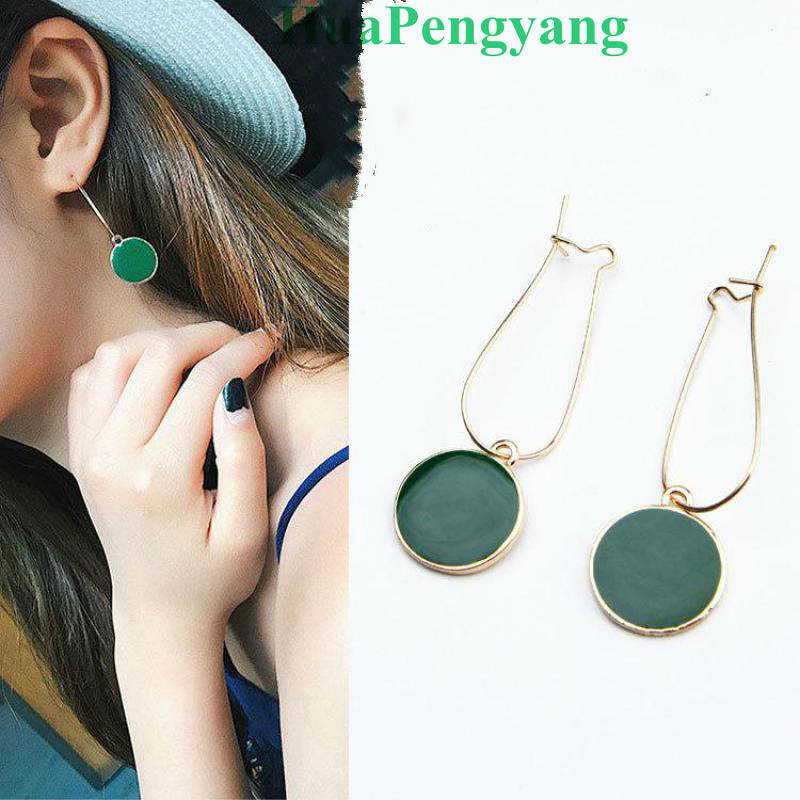 Hot Simple Green Circle Small Fresh Girl Earrings