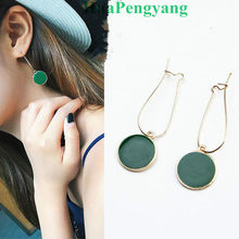 Hot Simple Green Circle Small Fresh Girl Earrings Female Character Good Quality Pendant Earrings(China)