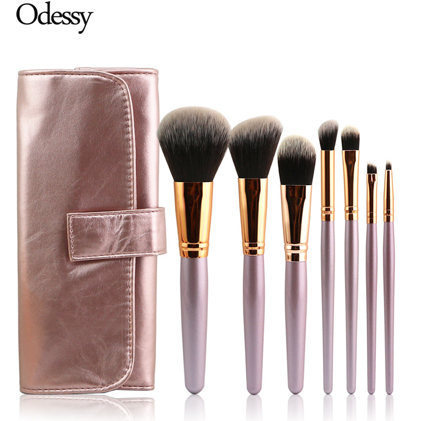 Portable Soft Champagne 7pcs Oval Makeup Brushes Set Beauty Cosmetic Real Kabuki Make Up Tool Eyebrow Powder Foundation with Bag professional makeup brush flat top brush foundation powder beauty cosmetic make up brushes tool wooden kabuki