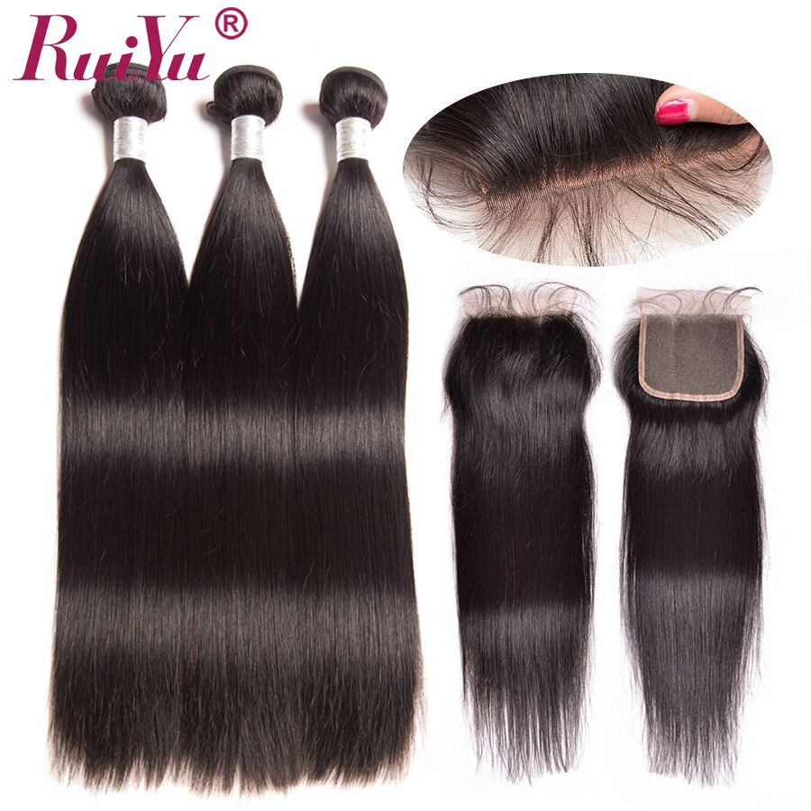 RUIYU Straight Human Hair Bundles With Closure Remy Indian Hair Weave 3 Bundles With 4x4 Free Part Lace Closure Hair Extensions