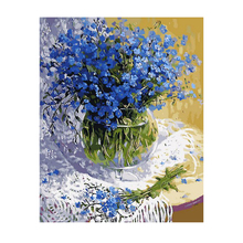 WONZOM Blue Flower Vase Painting By Numbers DIY Oil Paint 40X50CM Canvas Art Serene Home Decor Gift 2018 New