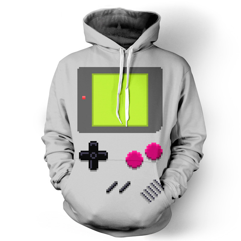 new 2017 spring Game boy Hoodie 3d printed sweatshirts Front Pocket Drawstring winter coat men women