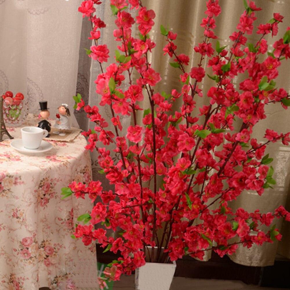 50 Inch Artificial Flowers Branch Cherry Spring Plum Peach Blossom