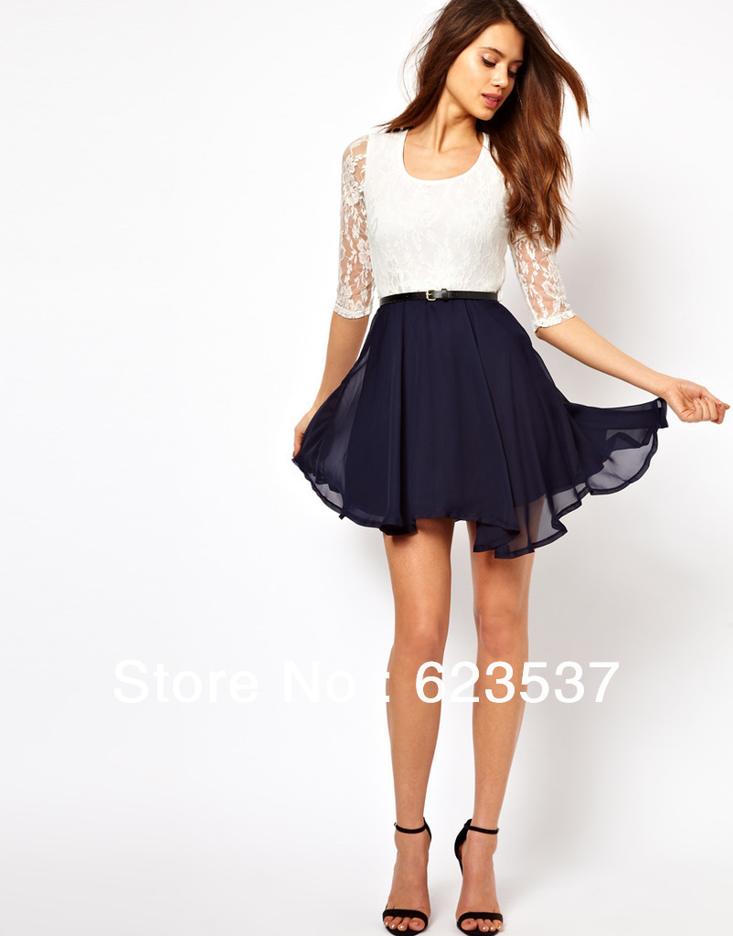 Online Shop popular fress shipping 2013 women lace dress white and ...