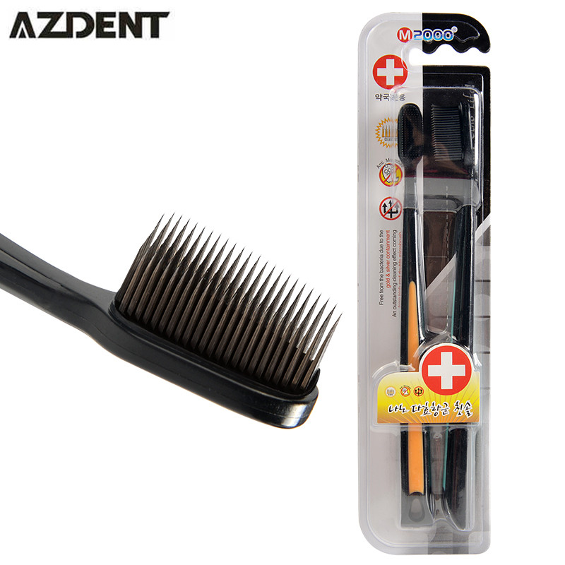 Charcoal nano black bamboo toothbrush kids 2pc pack travel brosse a dents ultra soft toothbrush wholesale