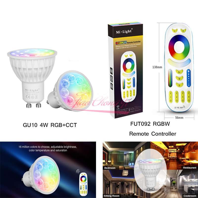 Mi Light Dimmable Led Bulb 4W GU10 RGB CCT(2700-6500K) led Lamps Indoor Decoration with 2.4G RF LED Remote Control