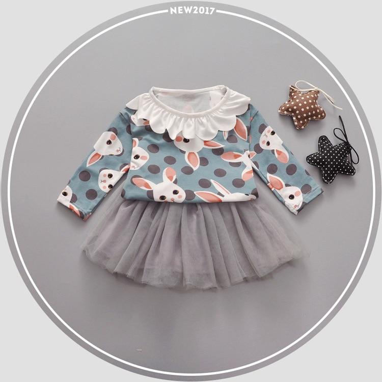 2017 New Spring Baby Girls Kids sweet Rabbit dot printing top Long Sleeve t-shirt+skirt Princess Infants 2PCS clothing set S4669 2017 new spring women maternity t shirt