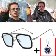 AOZE Fashion Avengers Tony Stark Flight Style Sunglasses Men Square Br