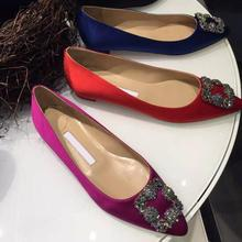 kaeve 15 Colors Bling Rhinestone Flats Casual Shoes Woman Opinted Toe Slik Spring Leather Wedding 2017