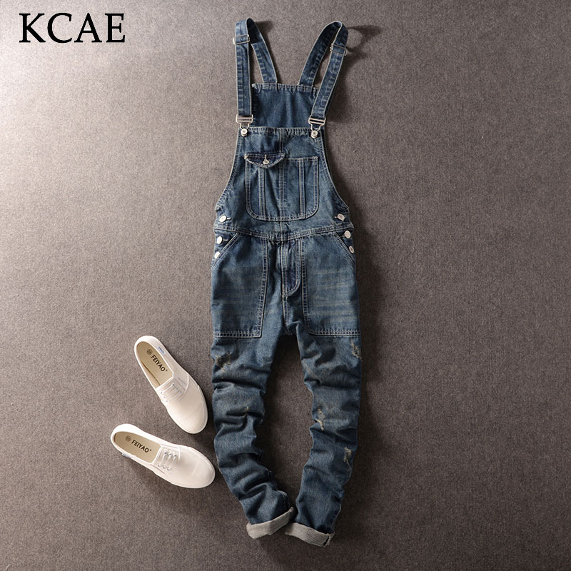 Fashion Casual Men's Cool Ripped Hole Blue Denim Overalls Male Jeans Jumpsuits Suspenders Trousers For Man plus size M-XXL 2016 new men s casual pocket blue denim overalls slim jumpsuits pants ripped jeans for man plus size 28 34