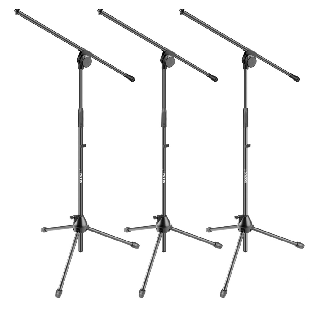 Neewer 3 Pieces Tripod Boom Floor Microphone Stands for Stage or Studio Use- Aluminum Alloy Foldable and Rotatable Adjustable