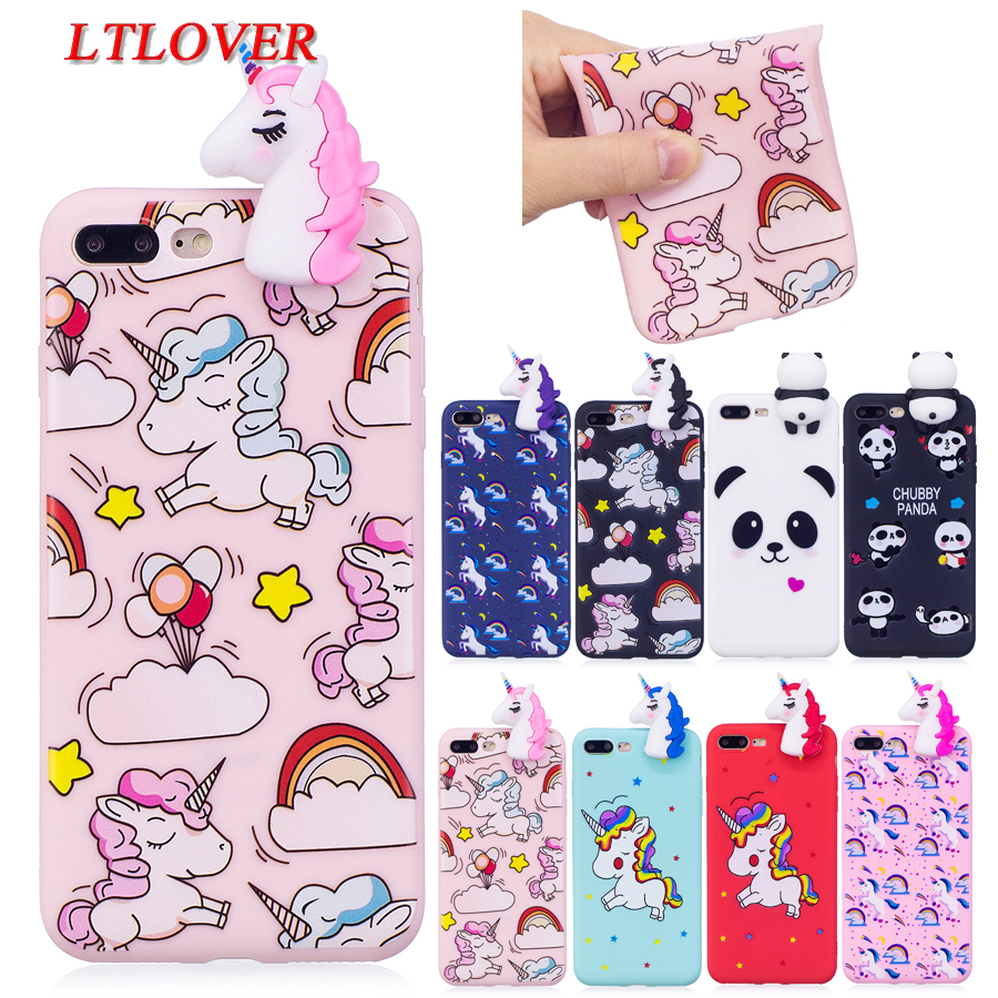 For iphone 8 Plus Cases Cute Candy 3D Unicorn Painted Soft Silicone Phone Case For Apple iPhone 8 Plus Back Cover Cases Fundas