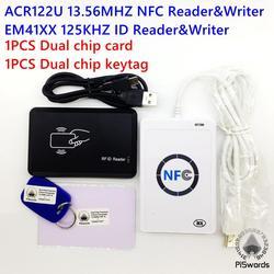 NFC ACR122U 13.56 MHZ RFID carte et 125 KHZ lecteur de carte d'identité et écrivain programmeur fissure clone M1 EM4100 Rfid carte uid modifiable t5577