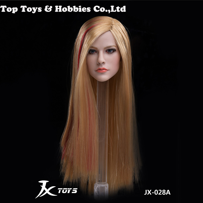 1/6 JX-028A/B/C Female Head Carved Singer Avril Pale Skin Head Sculpt Model For 12
