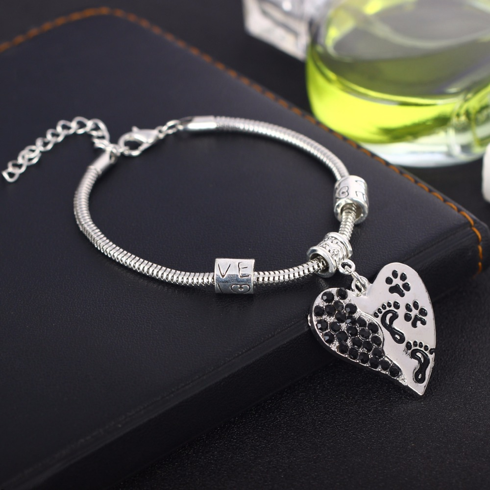 New Crystal Heart Pet Paws Footprints Bracelets Love Beads Bangle Pets Have A Way Of Fin ...