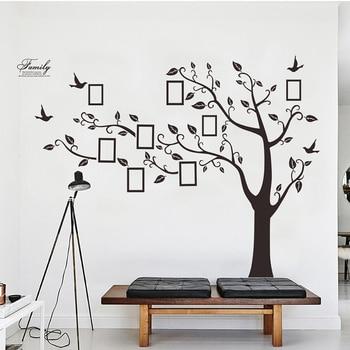 Grand Noir 3D Bricolage Photos Cadre Arbres PVC Stickers Muraux/adhésif  Famille Stickers Muraux Art Mural Décor à La Maison Salon Décorations