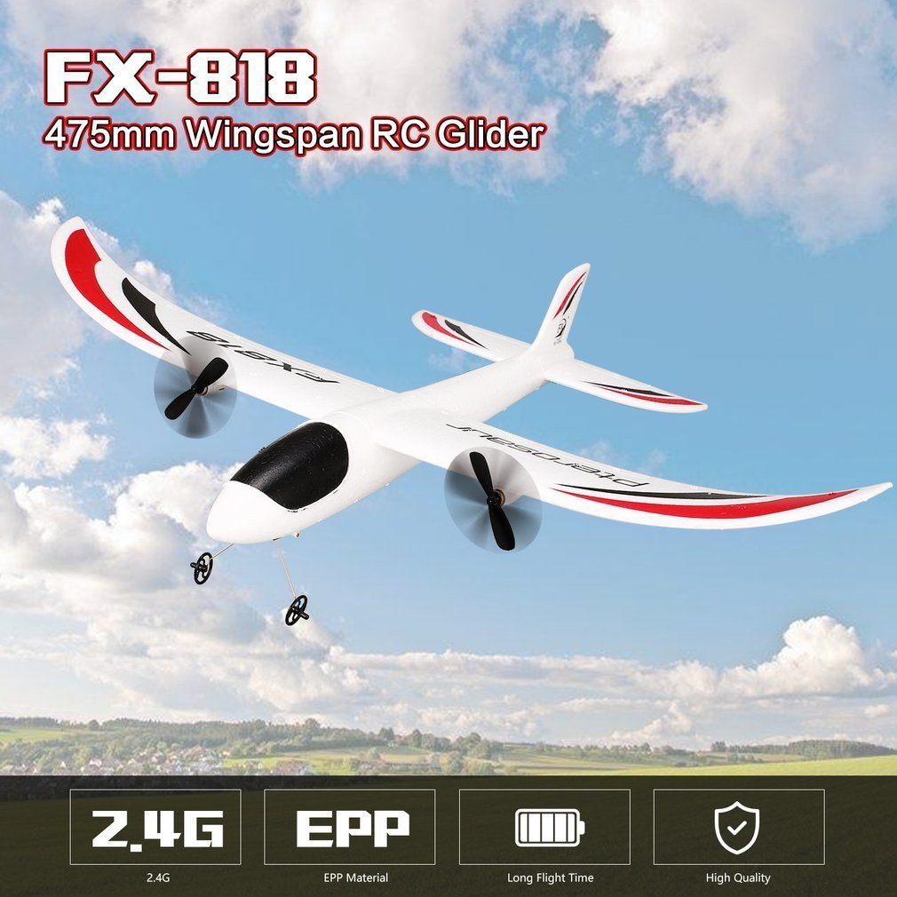 FX-818 2.4G 2CH Remote Control RC Airplane Aircraft Fixed Wing Drone Glider 475mm Wingspan EPP for Children Kid Gift RTF 9107 epp foam fixed wing 4 ch radio control r c aircraft orange black
