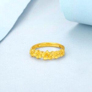 Image 3 - JMZB anillo de oro puro de 24K para mujer, sortijas de oro sólido auténtico AU 999, flores hermosas de lujo, joyería clásica bonito, producto en oferta, novedad de 2020