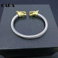 CARA Người Đàn Ông MỚI Đôi Rồng Heads Cuff Vòng Tay Lắc Tay Vàng-màu Thép Không Rỉ Điều Chỉnh Cable Bracelet Nam Bangle Jewelry CARA0043