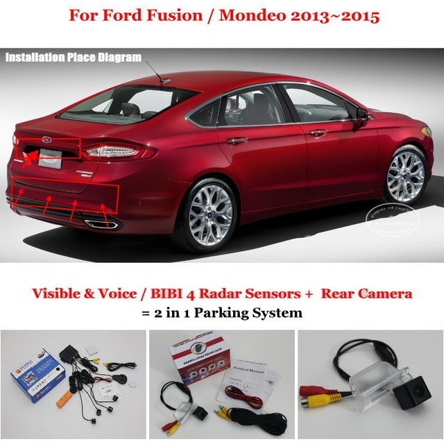 For Ford Fusion / Mondeo 2013~2015 - Car Parking Sensors + Rear View Back Up Camera = 2 in 1 Visual Alarm Parking System