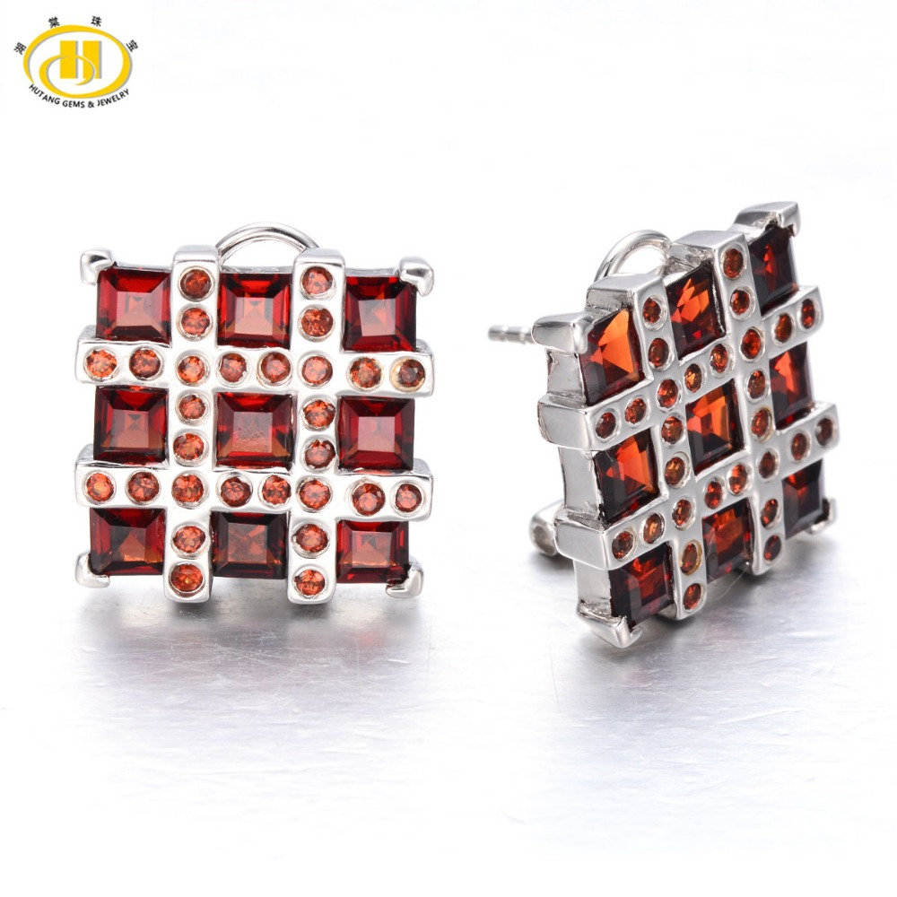 Hutang Stone Jewelry 4.8ct Natural Garnet Soild 925 Sterling Silver Earrings Womens Gemstone Fine Fashion Jewelry Black Friday