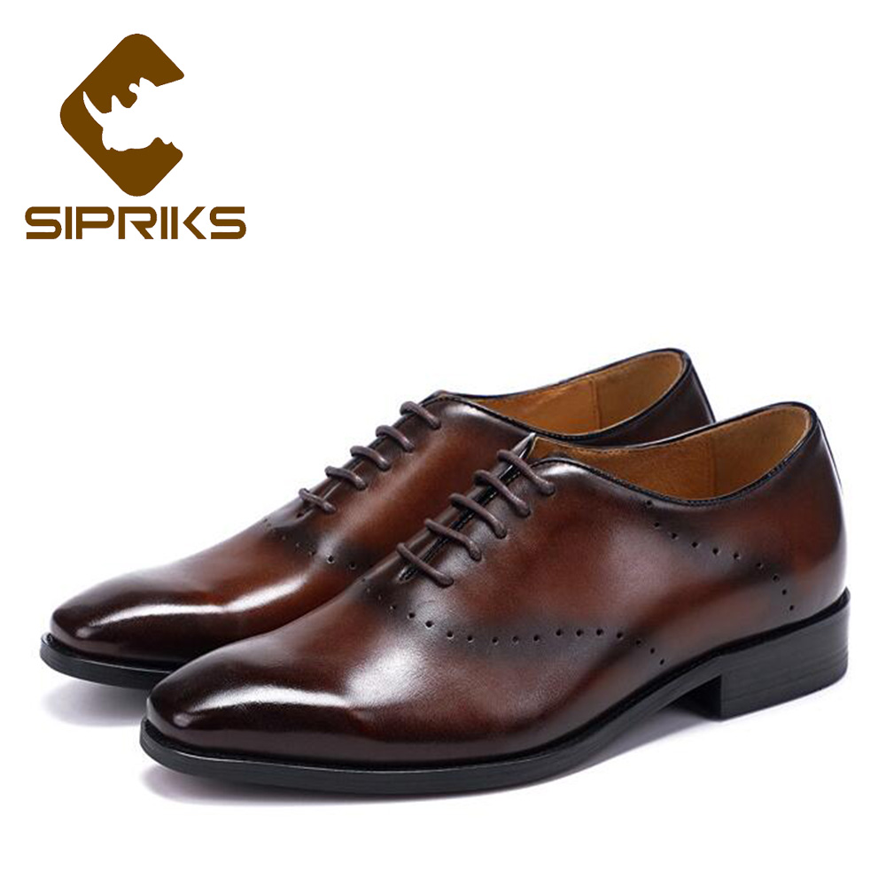 Sipriks Patina Leather Dark Brown Oxfords For Men Vintage Designer Dress Shoes Grooms Wedding Party Shoes Business Office Shoes цена