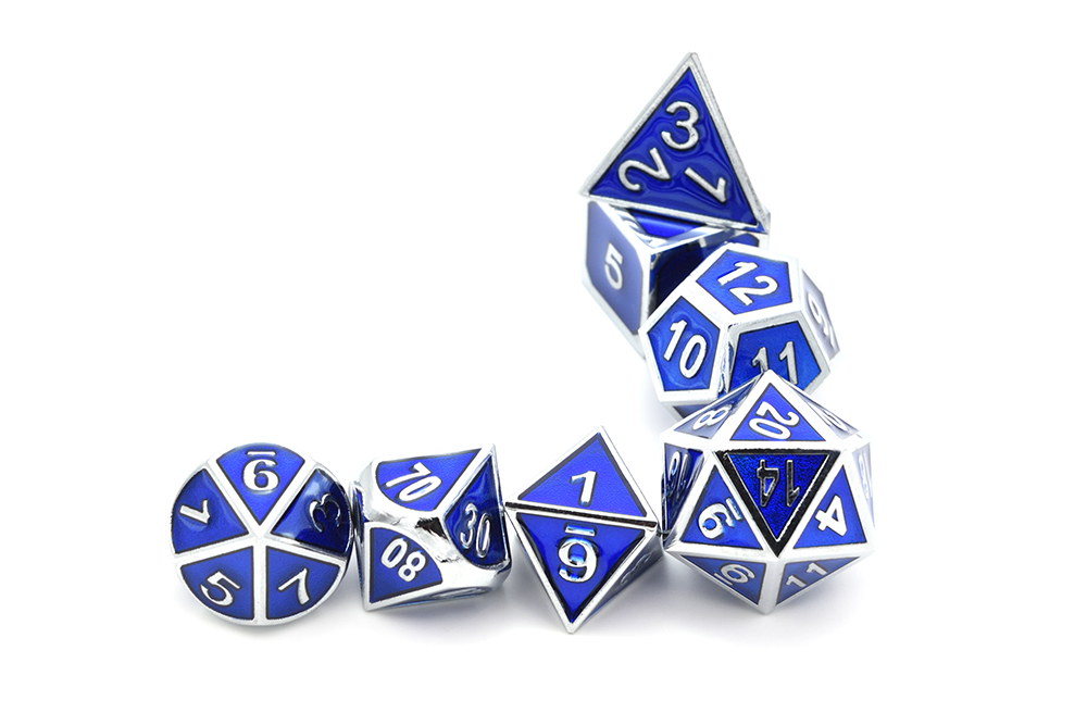 7 pçsset Azul Metal Dice Set D
