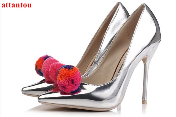 Colorful pompon decor silver women shoes glaze surface High Heels sign-on thin heel pumps female wedding dress shoes pointed toe white lace embroider women shoes slip on high heels glaze surface metal thin heel pumps female wedding dress shoes pointed toe