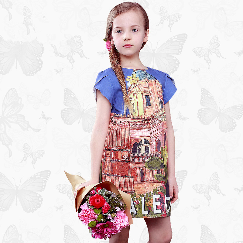 W.L.Monsoon Girl dress Summer dress Floral Leisure summer Princess dress Thin section Children's wear dress dress gina bacconi dress