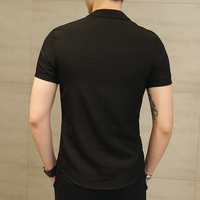 Chinese Style Linen Slim Fit Casual Short Sleeve Dress Shirt 3