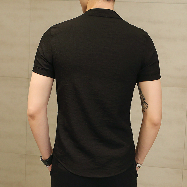 Summer New Linen Slim Fit Casual Short Sleeves Shirt 3