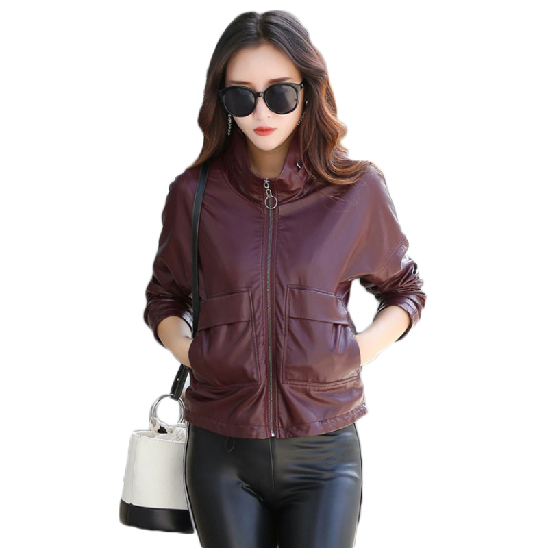 Women's Short Washed PU   Leather   Hooded Jacket 2018 New Autumn Winter Fashion Ladies Basic Zipper Motorcycle Faux   Leather   Coat